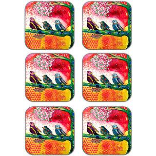 meSleep Three Bird Wooden Coaster-Set of 6