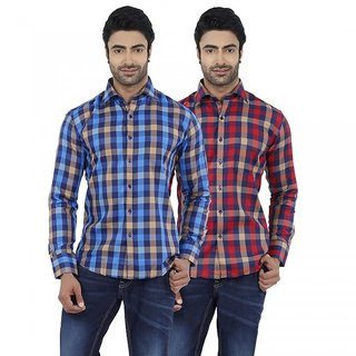 Dennis Lingo Men's Checkered Red and Blue Full Sleeves Formal Shirts