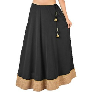 Bollywood Style Elegant Black Maxi Skirt (Semi Chiffon) With ...