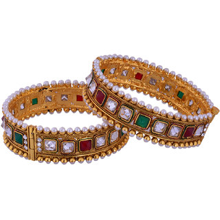 JNB Jewellers Antique look Kundan Bangles