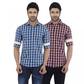 Dennis Lingo Men's Checkered Blue and Red Full Sleeves Formal Shirts