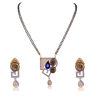 JNB Jewellers American Diamond Mangalsutra with Coin Work