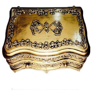 Gold Pastic  With Two Sections  For Jewellery Storing And Room Dcor