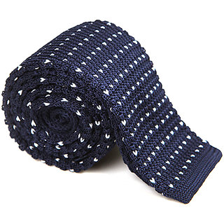 Tryndel Men's Fashion Navy & White Dots Knitted Tie