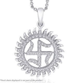 Peora Sterling Silver Rhodium Plated Shubh Swastik Cz Pendant (Pp1S)