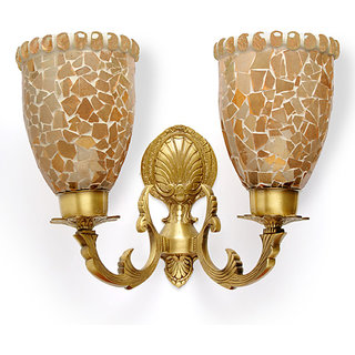 Fos Lighting Meenakshi Charlie Double Antique Brass Sconce
