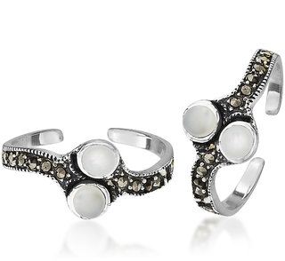 Peora White Marcasite Oxidised Sterling Silver Toe Rings Pt02