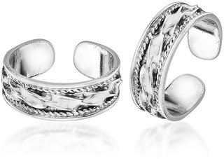 Peora Sterling Silver Oxidised Swirly Knot Toe Rings, Adjustable Size Pt24