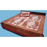 Cotton Bed Sheet Sanganeri Floral Printed Double Bed Sheet