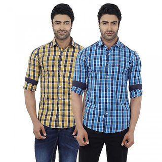 Dennis Lingo Men's Checkered Yellow and Blue Full Sleeves Formal Shirts