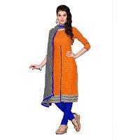 Parisha Orange Cotton Printed Salwar Suit Dress Material