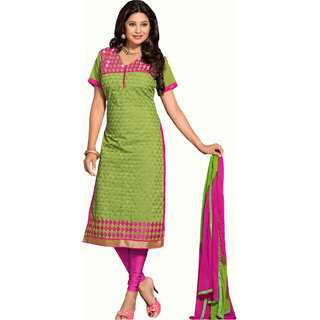 Parisha Green Polycotton Printed Salwar Suit Dress Material