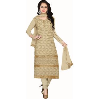 Parisha Beige Kota Printed Salwar Suit Dress Material (Unstitched)