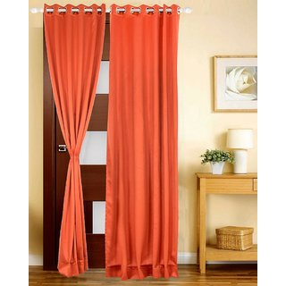 Just Linen Indian Red Polyester Sateen Black Out Door Eyelet Curtain