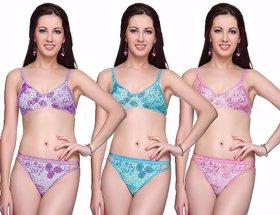 Pack of 3 Multicolor Cotton Bra Panty Set