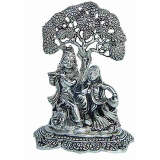 White Metal Radha Krishna Sitting In Tree For Worship