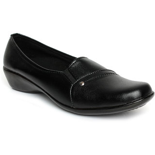 Nshell formal black slip on flat shoes F2