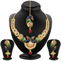 Sukkhi Glistening Peacock Gold Plated Necklace Set