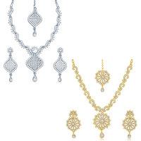 Sukkhi Sparkling 2 Pieces Necklace Set Combo
