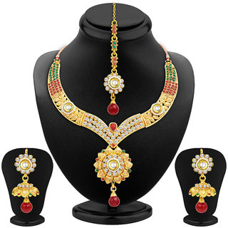 Sukkhi Alluring Gold Plated AD Necklace Set