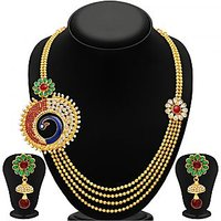 Sukkhi Eye-Catchy Peacock Four Strings Gold Plated Necklace Set