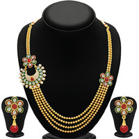 Sukkhi Fancy Four Strings Gold Plated Necklace Set