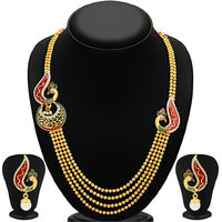 Sukkhi RedGreen Alloy Gold Plated Necklace Set For Women