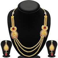 Sukkhi GoldenRed Alloy Gold Plated Necklace Set For Women