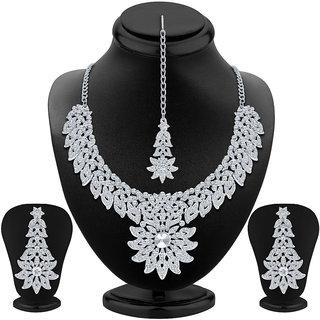 Sukkhi Astonishing Rhodium Plated AD Necklace Set