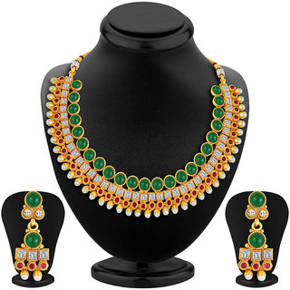 Sukkhi Dazzling Gold Plated AD Necklace Set