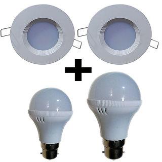 Bene Combo Offer Downlight 3w (2 Pcs) Warm White, Bulb 3w (1 Pc), Bulb 5w (1 Pc)