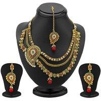 Sukkhi 3 Strings One Sided Mango Design Gold Plated Antique Necklace Set