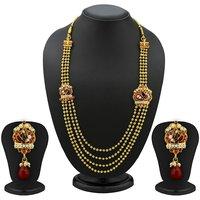 Sukkhi Lavish 5 Strings Gold Plated Peacock Antique Necklace Set