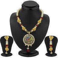 Sukkhi Designer Gold Plated Peacock Antique Necklace Set