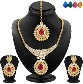 Sukkhi Attractive Gold Plated AD Necklace Set with Set of 5 Changeable Stone