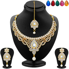Meia Golden Alloy Gold Plated Necklace Set For Women
