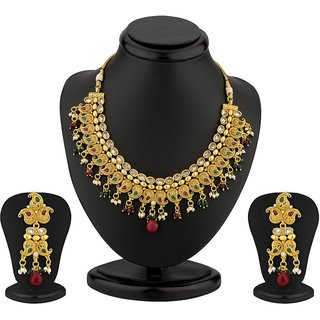 Sukkhi Keri Design Gold Plated AD and Meenakari Antique Necklace Set