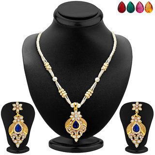 Sukkhi Exotic Gold Plated AD Necklace Set with Set of 5 Changeable Stone