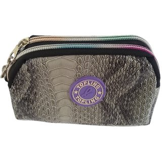 Viva Fashions Double Zipper Pouch (Grey)