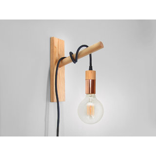 Handcrafted Pendant Light made of Copper and Wood. Wall Sconc