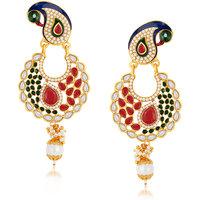 Sukkhi Elegant Peacock Gold Plated Australian Diamond Earrings