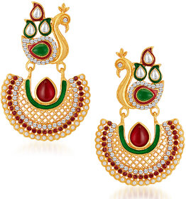 Sukkhi Gold Plated Australian Diamond Multi Dangle Earrings For Women