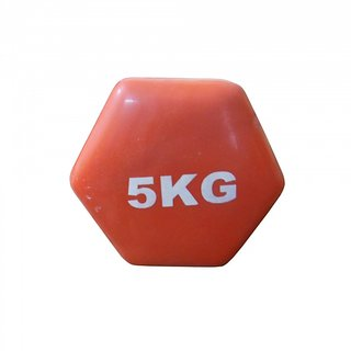 Prokyde Vinyl (Single) Fixed Weight Dumbbell- 5 kg - Red