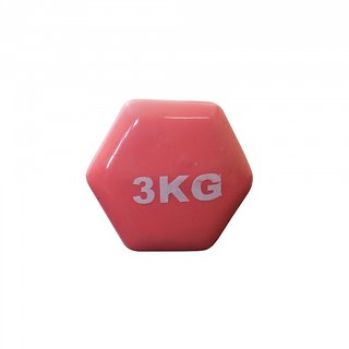 Prokyde Vinyl (Single) Fixed Weight Dumbbell- 3 kg - Pink