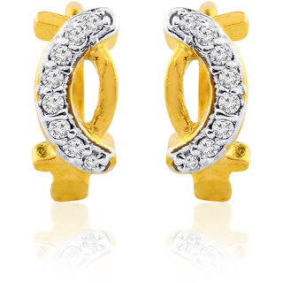 Gold Cz Party Wear Ad Hoop Earrings Bali By Jewelscart.In JC01000372