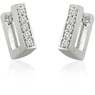 Fashion Jewelry Cz Silver Plated Hoop Earrings Ad Bali By Jewelscart.In JC01000379