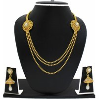 Zaveri Pearls Gold Plated Golden  White Necklace Set For Women
