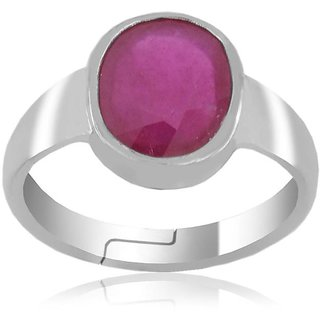 Avaatar Delicate 9.25 Ratti Ruby Gemstone Ring In Sterling Silver