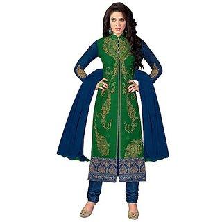 krishna69's Green Color Floral Resham Thread Embroidery Work Designer Salwar