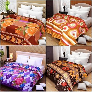 Pack of 4 designer Double bed sheet cum Ac blanket